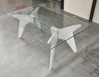 Table verre beton -